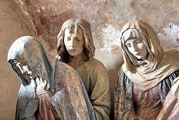 Part of the mise au tombeau in Chaource. The Virgin Mary, Saint John and Mary Salome. Photograph shown courtesy Jean-Marie Kinet